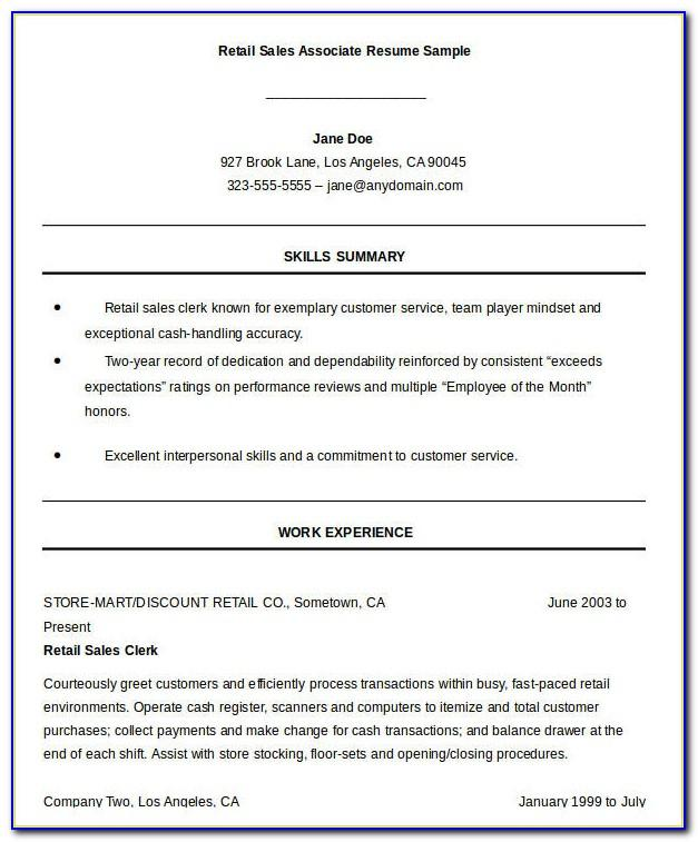 Sales Associate Resume Sample Objective