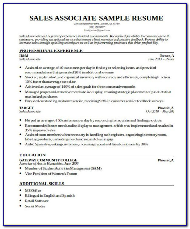 Sales Associate Resume Sample With No Experience