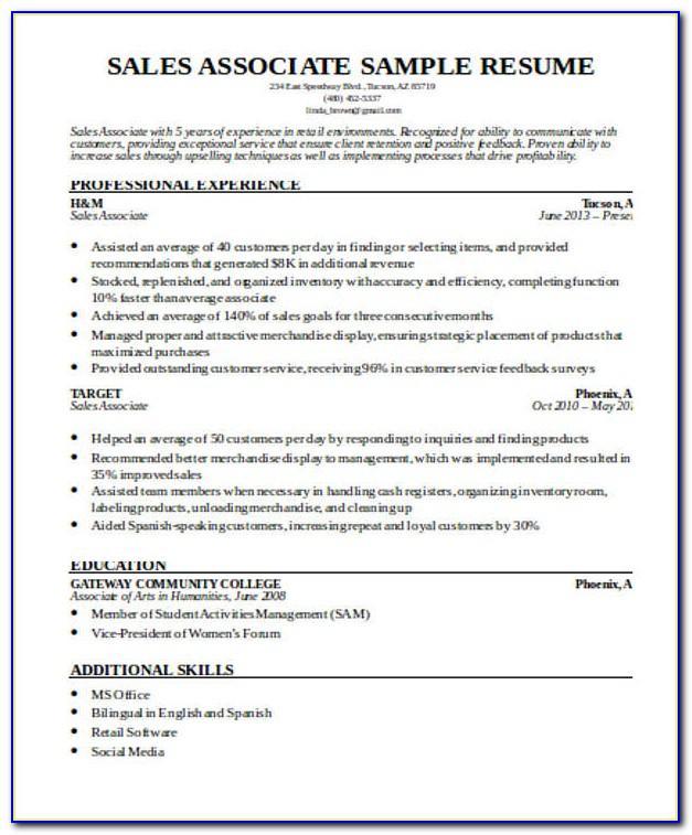 Sales Associate Resume Samples Free