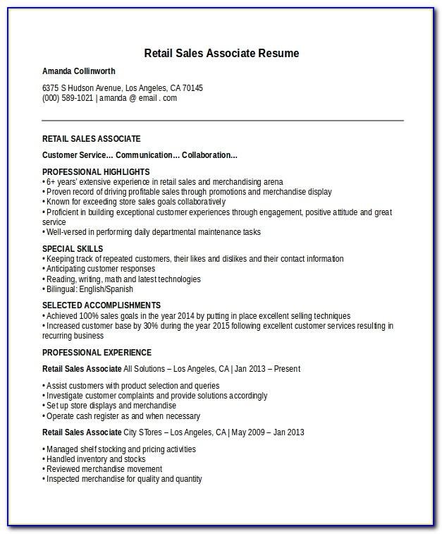 Sales Associate Resume Templates