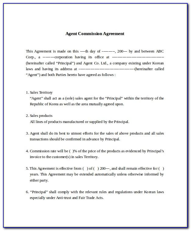 Sales Commission Agreement Format In India