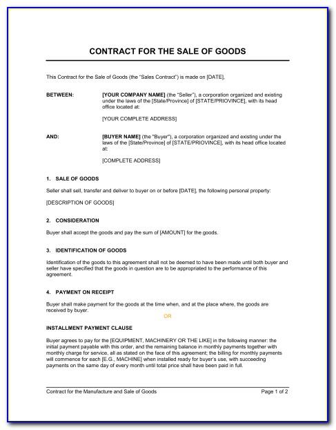 Sales Contract Agreement Uk