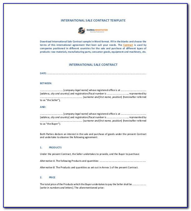 Sales Contract Sample Pdf