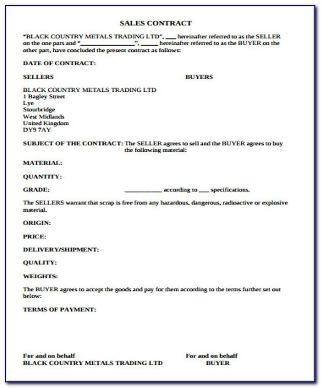 Sales Contract Template Doc