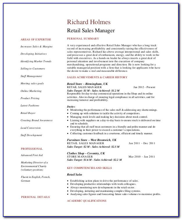 Sales Executive Resume Format Pdf