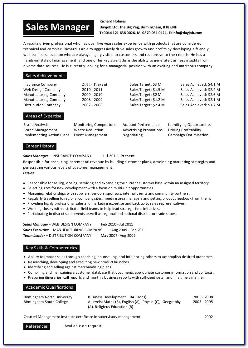 Sales Manager Cv Template Word
