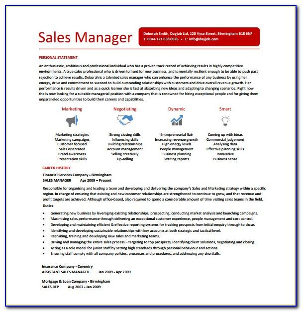 Sales Manager Resume Examples 2018