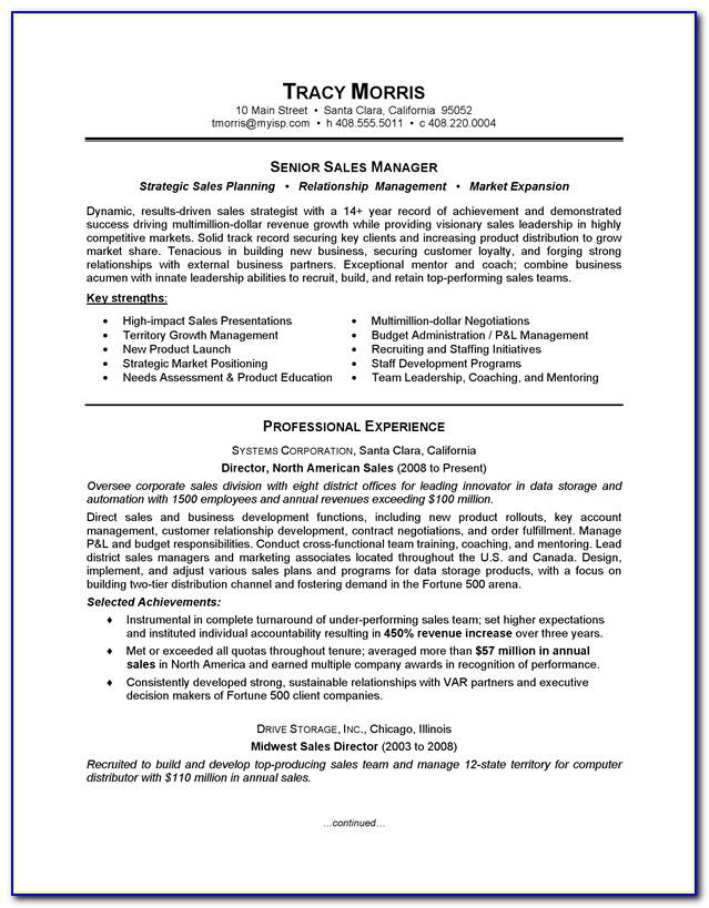 Sales Manager Resume Template 2018