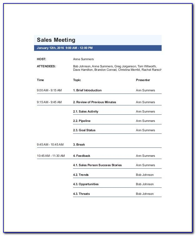 Sales Meeting Agenda Template Sample