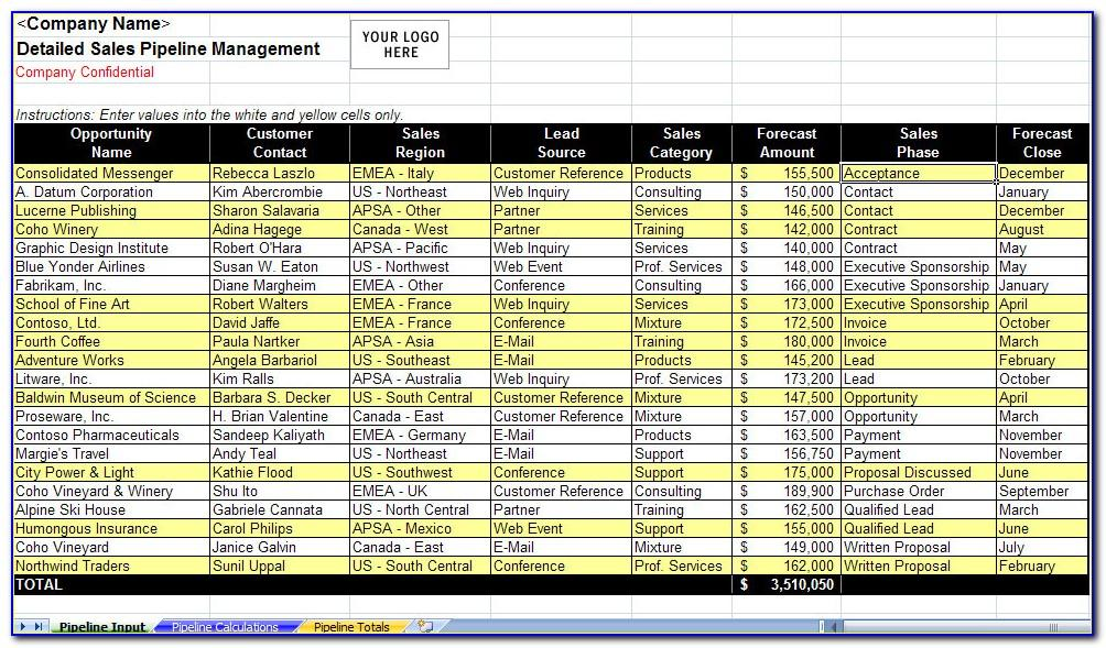 Sales Pipeline Management Excel Template