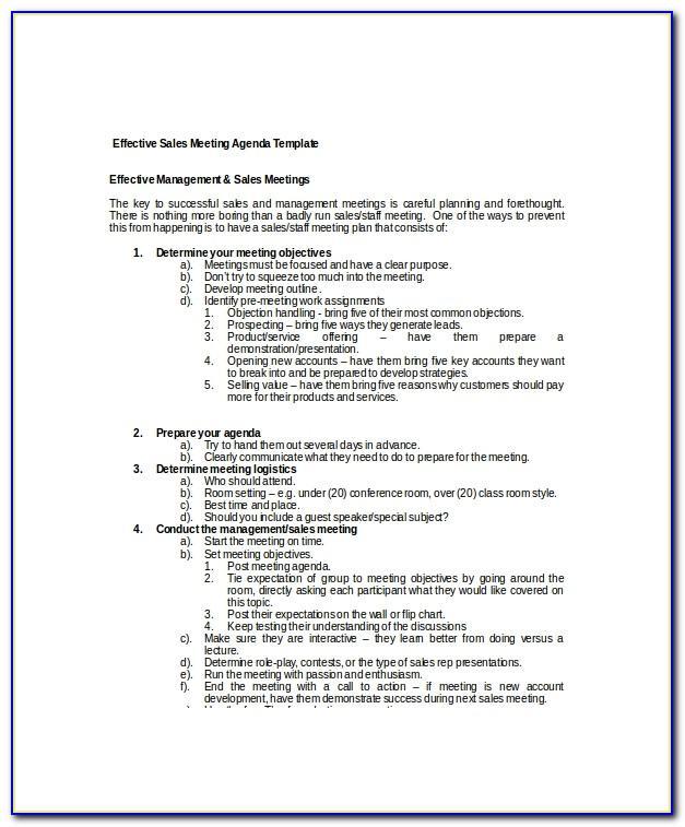 Sales Planning Meeting Agenda Examples