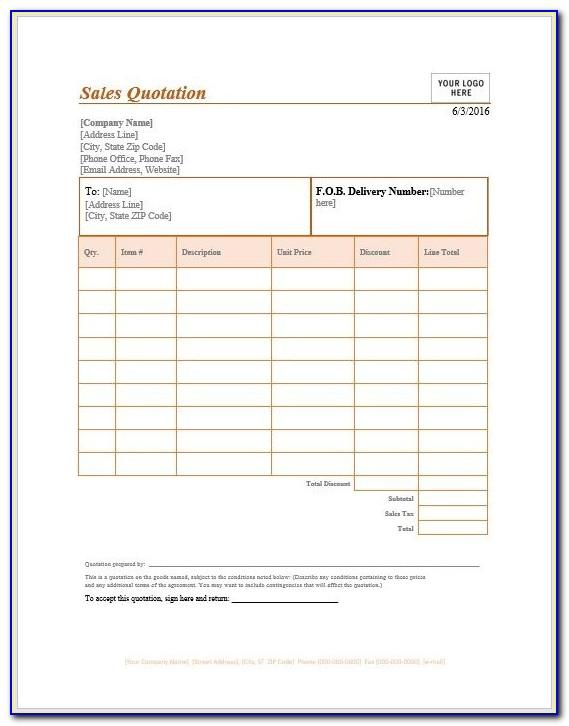 Sales Quotation Template For Mac