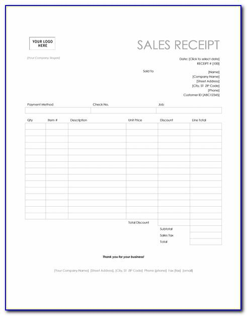Sales Receipt Template Microsoft Word