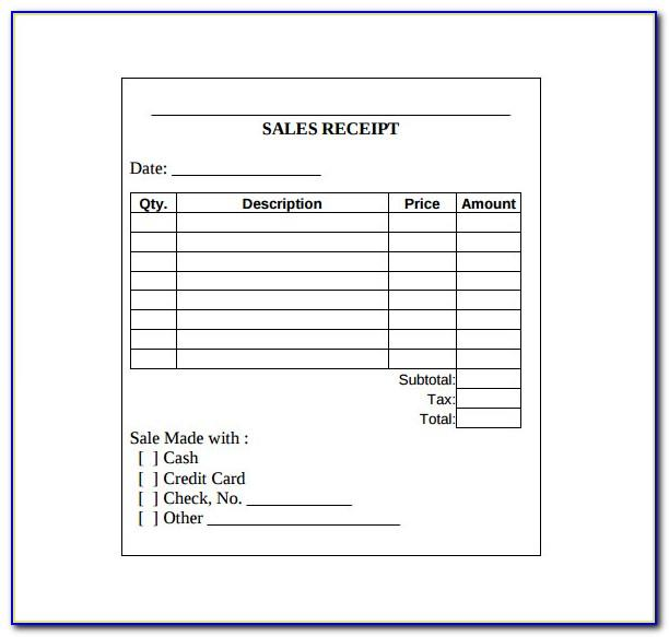 Sales Receipt Template Word 2007