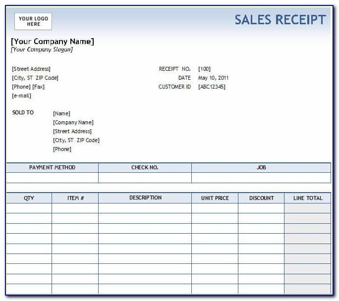 Sales Receipts Template Free