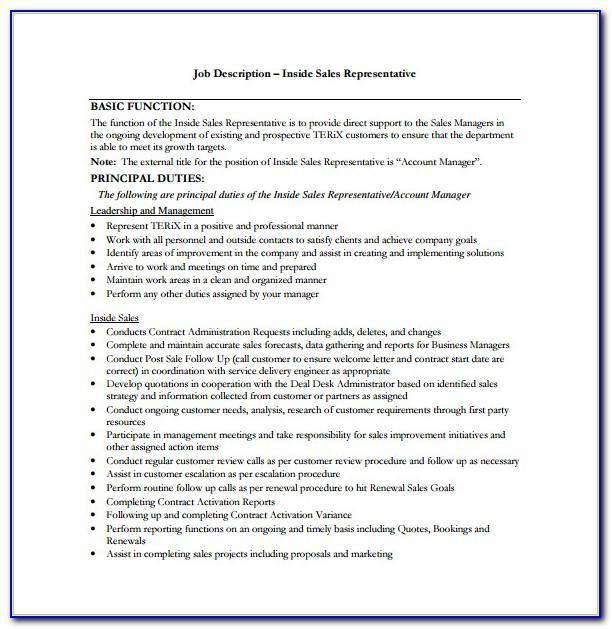 Sales Rep Job Description Cv