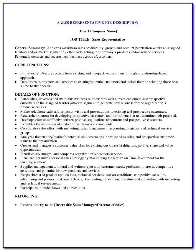 Sales Rep Job Description Example