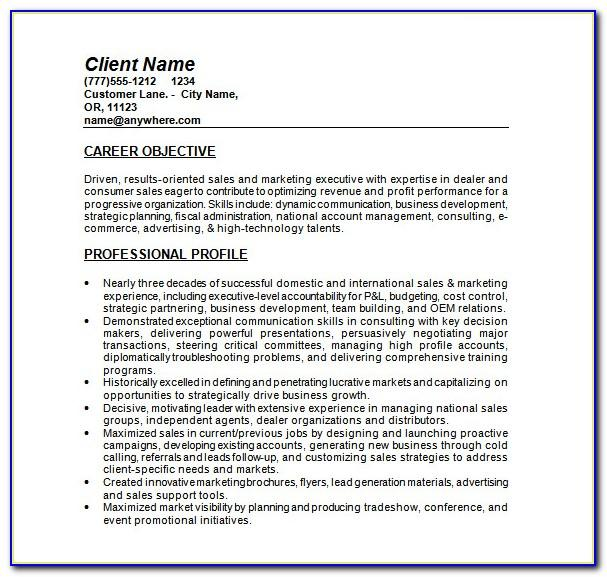 Sales Resume Templates Microsoft Word