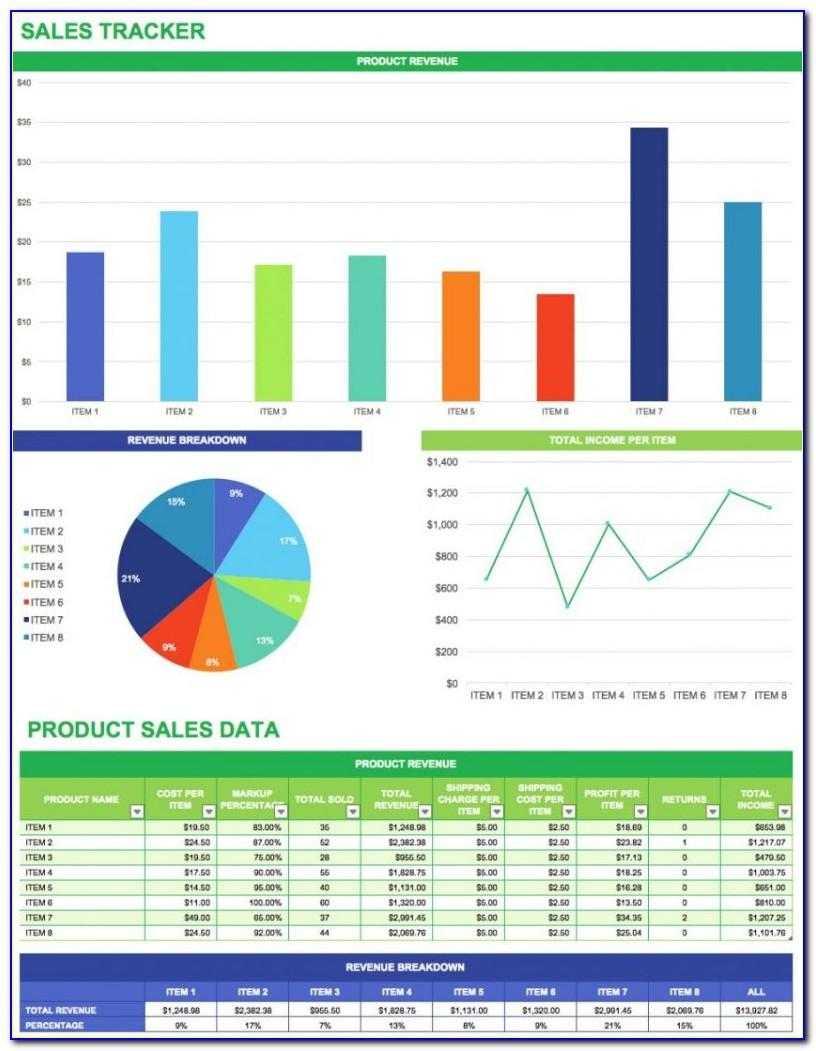 Sales Tracking Spreadsheet Excel Template