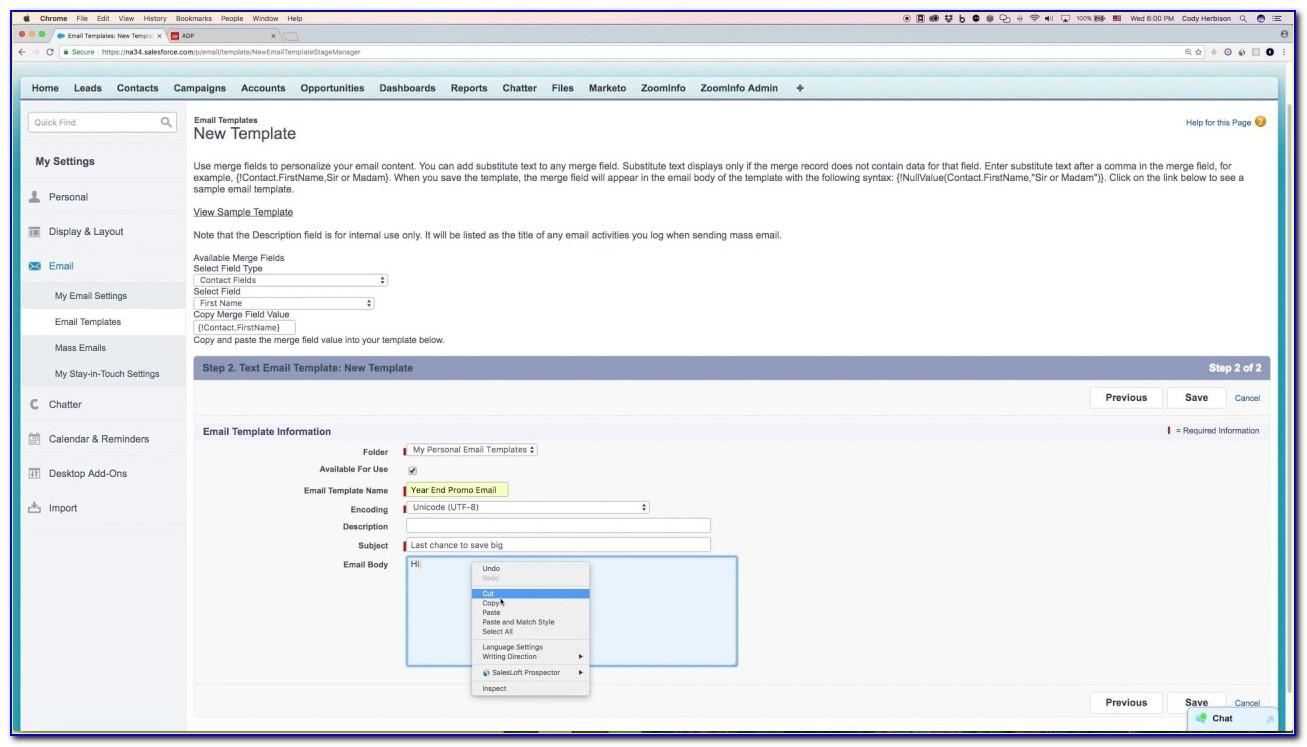 Salesforce Create Email Template Lightning