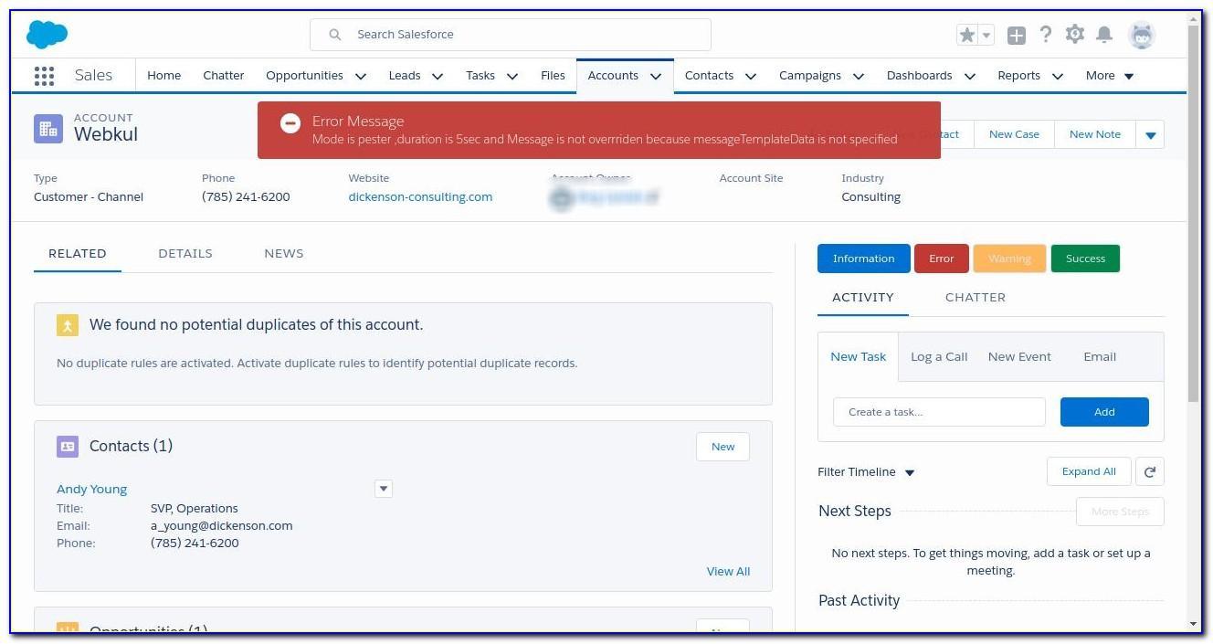 Salesforce Email Alert Lightning Template