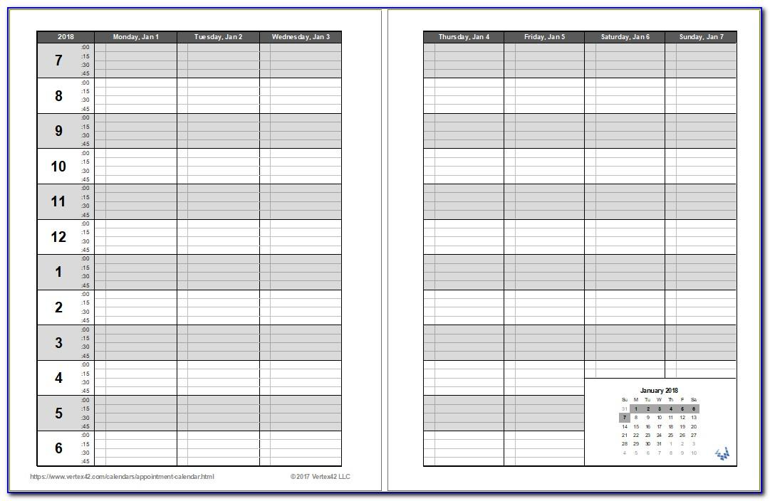 Salon Appointment Book Template Printable