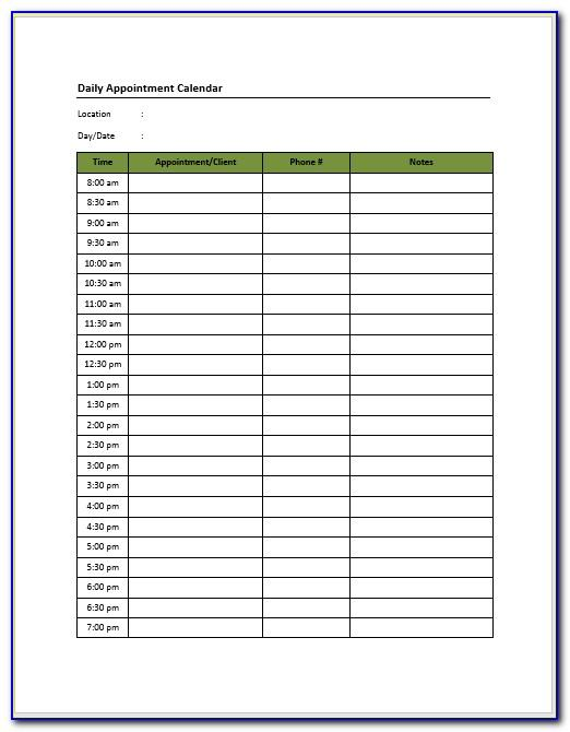 Salon Appointment Book Template
