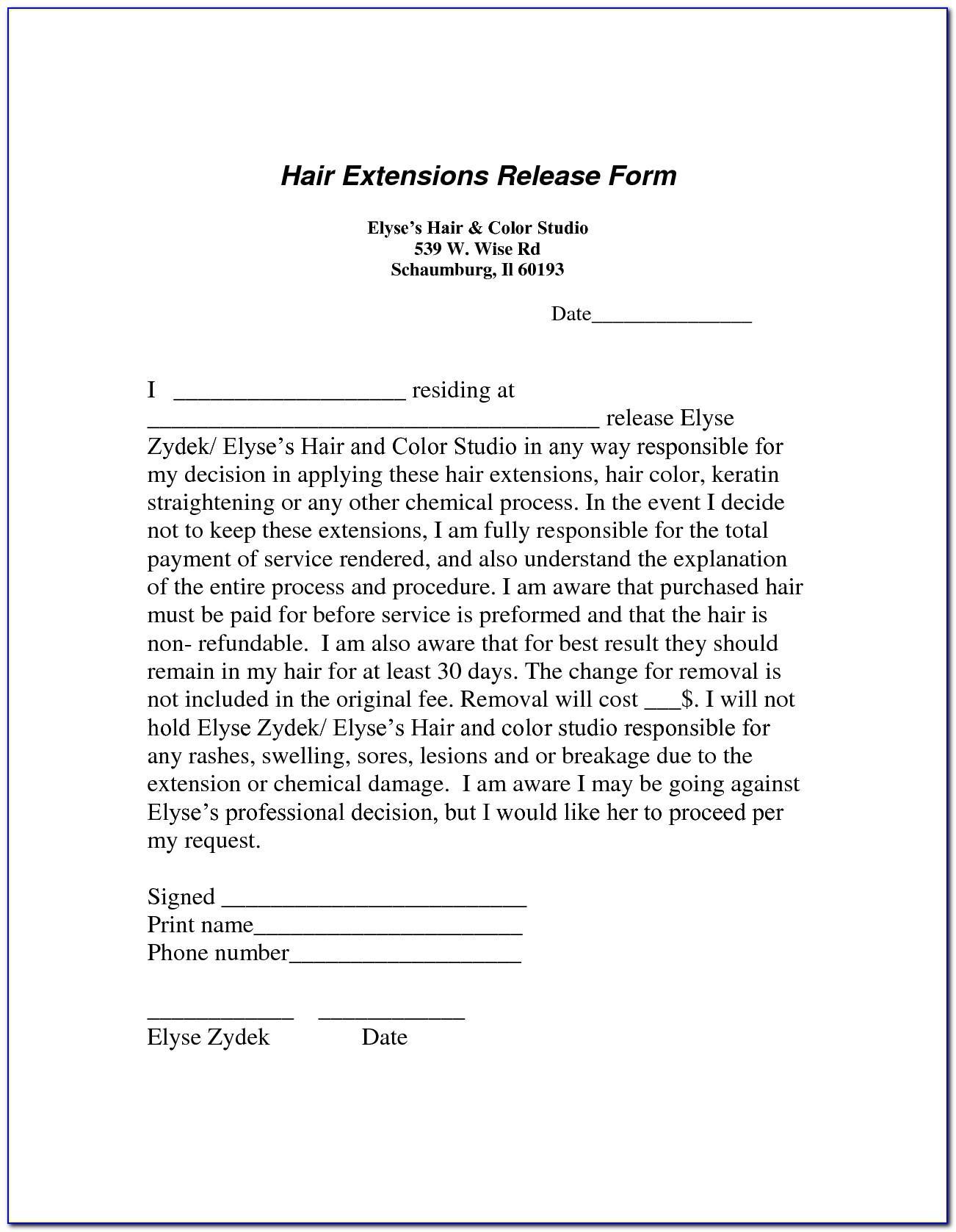 Salon Disclaimer Form Template