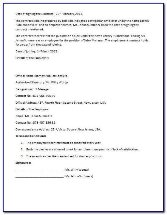 Salon Employee Contract Template