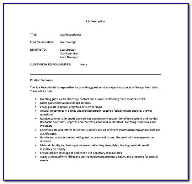 Salon Receptionist Job Description Template