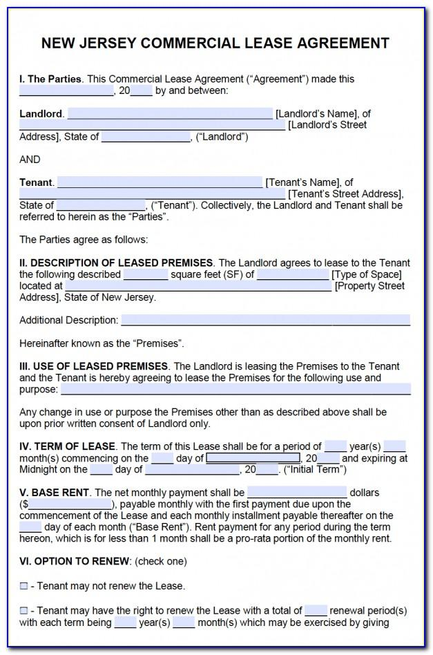 Sample Apartment Lease Agreement New Jersey