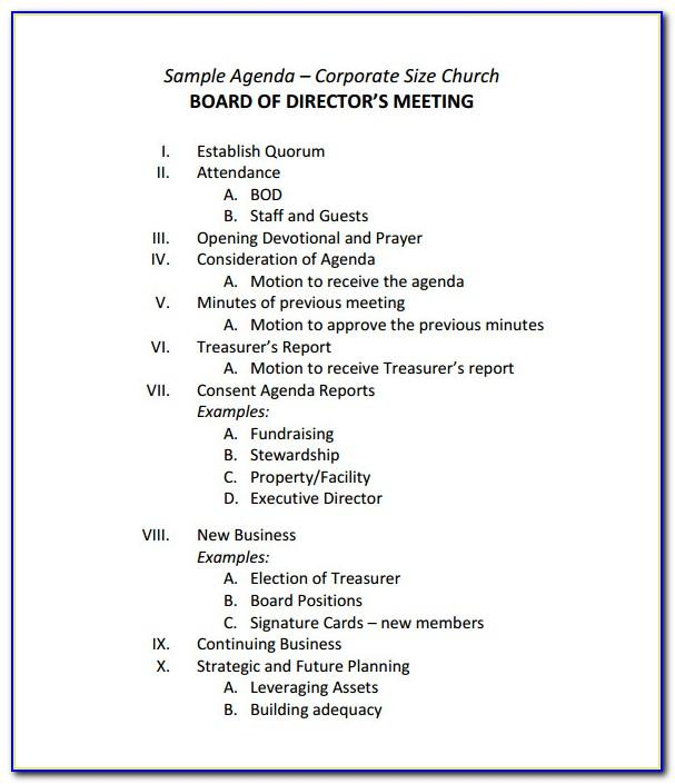 Sample Board Meeting Agenda Format