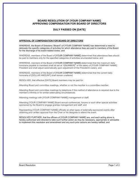 Sample Board Resolution For Directors Remuneration