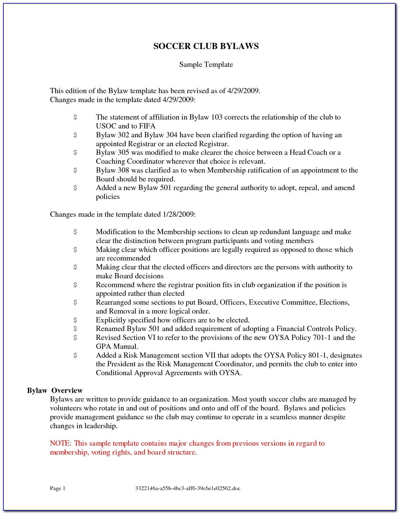 Sample Bylaws For Non Profit Florida