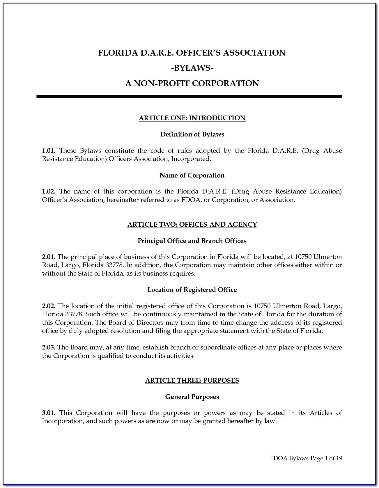 Sample Bylaws For Non Profit Organization In Maryland