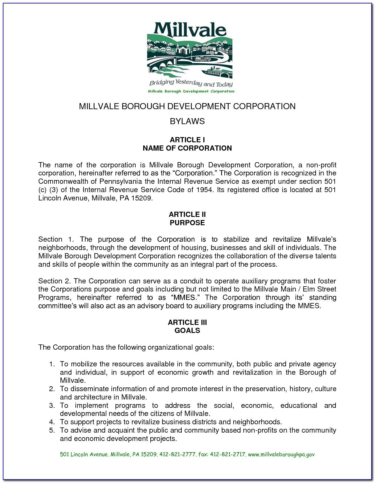Sample Bylaws For Nonprofit Organizations With Members Philippines