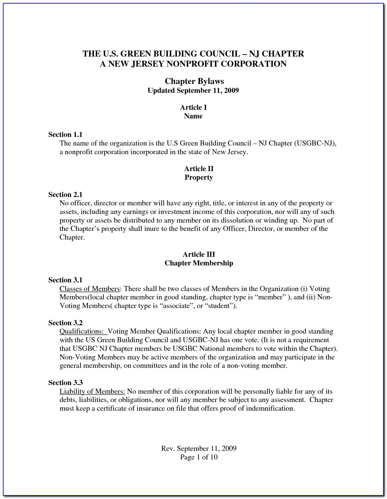 Sample Bylaws For Nonprofit Organizations With Members