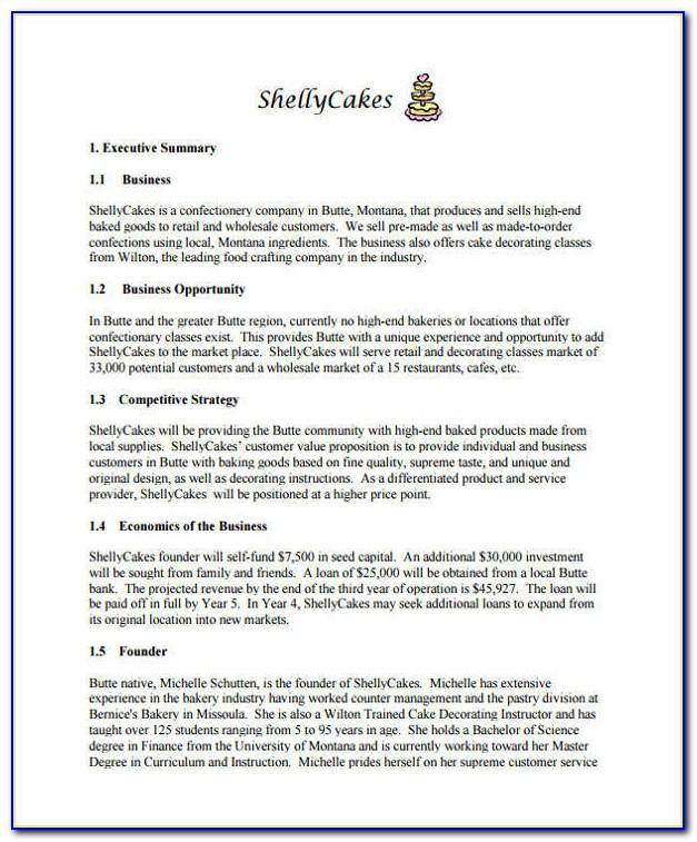 Sample Cake Decorating Business Plan Template