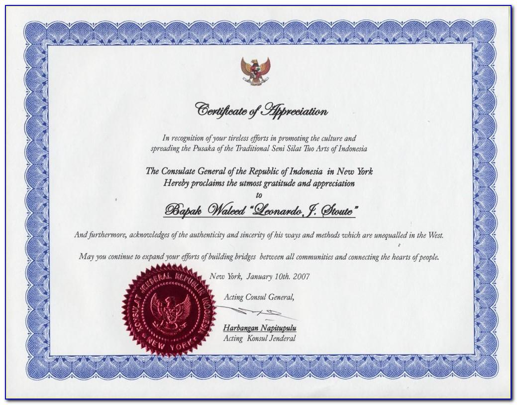 Sample Certificate Of Appreciation Text