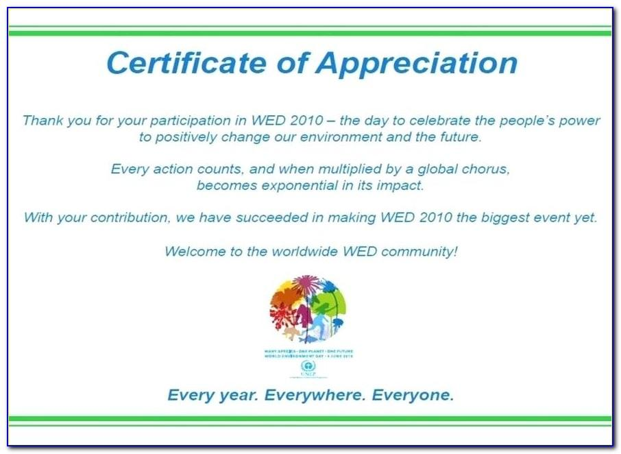 Sample Certificate Of Appreciation Wording