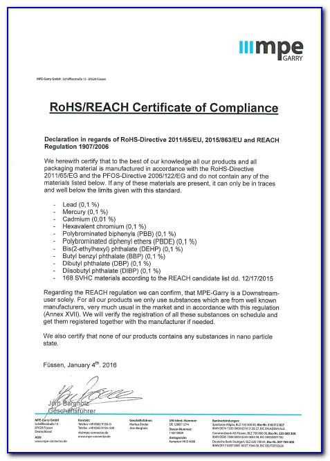 Sample Certificate Of Rohs Compliance Template