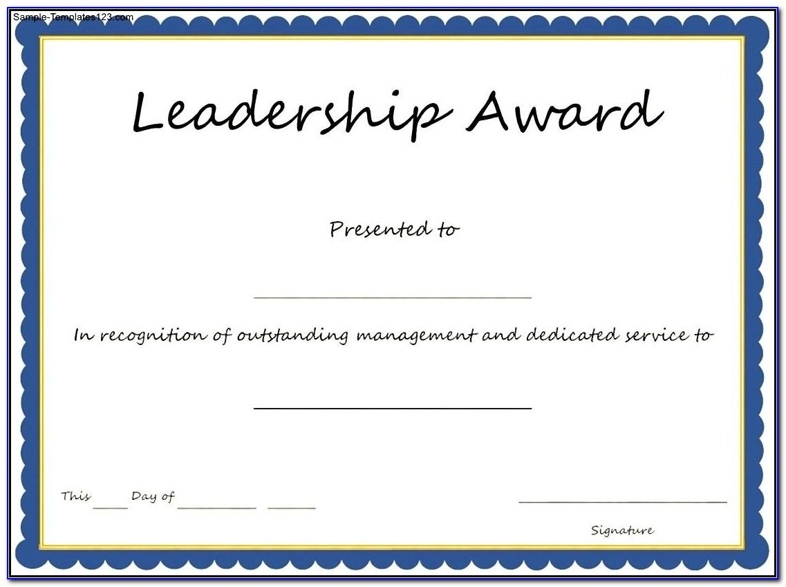 Sample Certificate Of Service Award