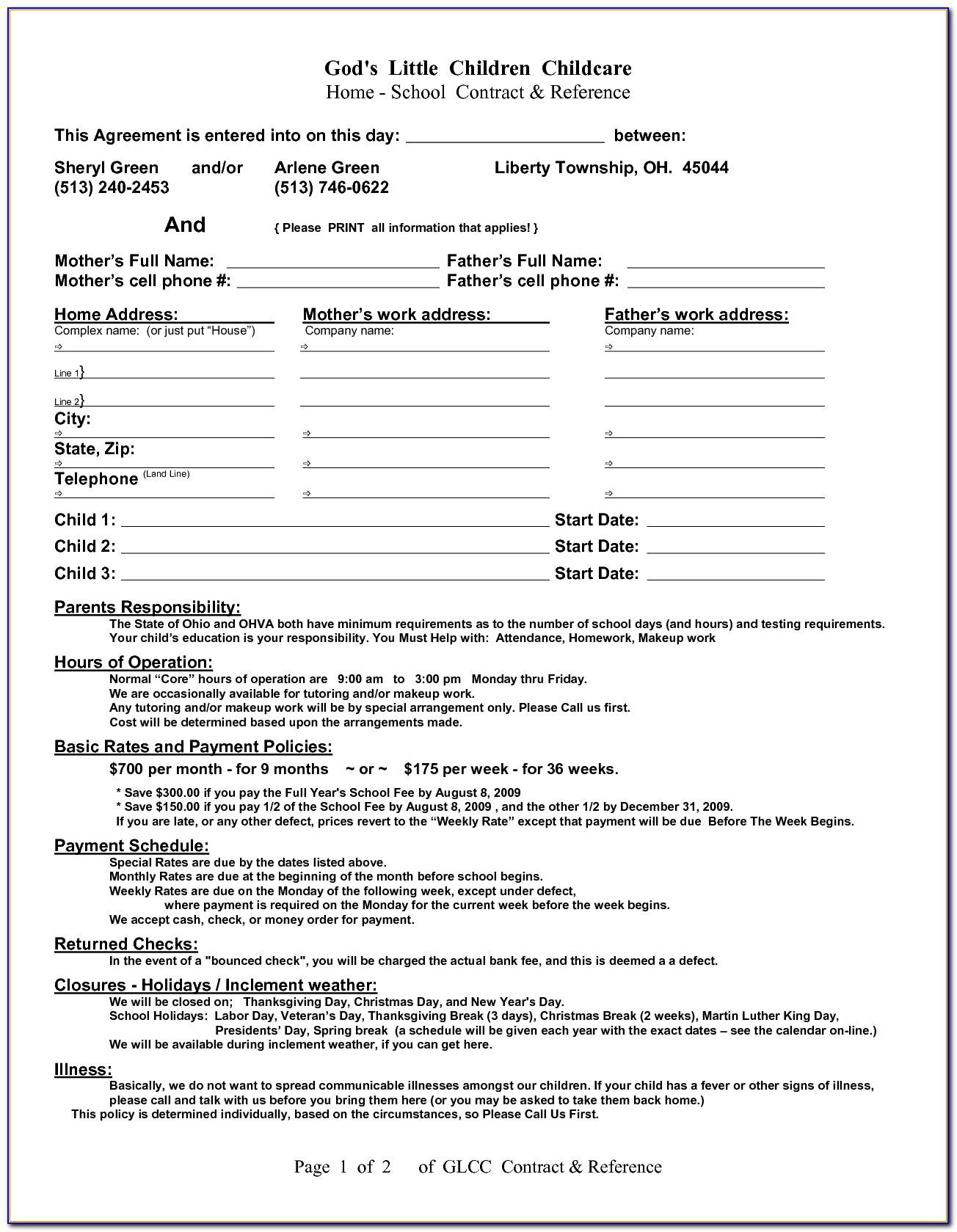 Sample Child Custody Agreement For Unmarried Parents Ontario