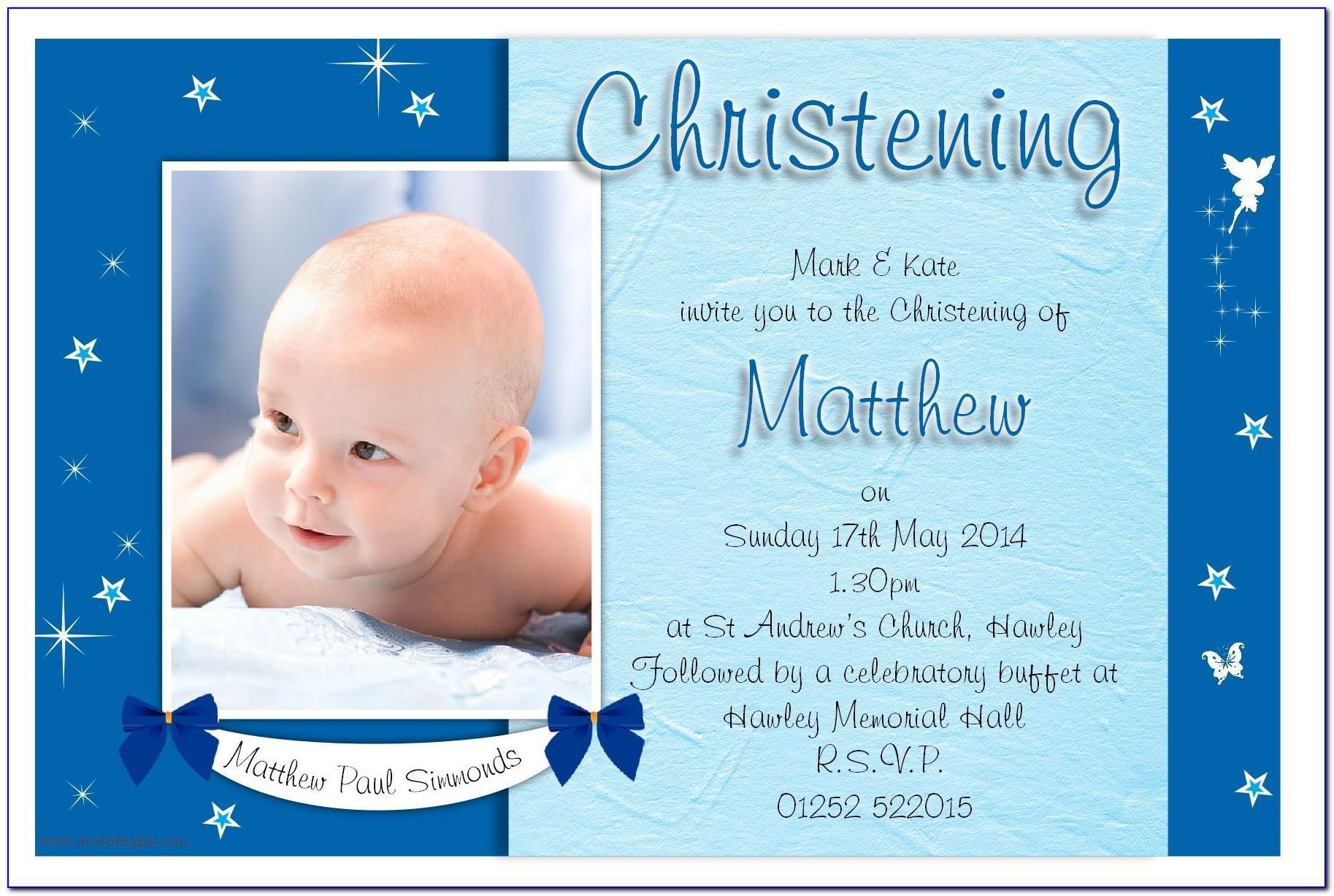 Sample Christening Invitation Templates