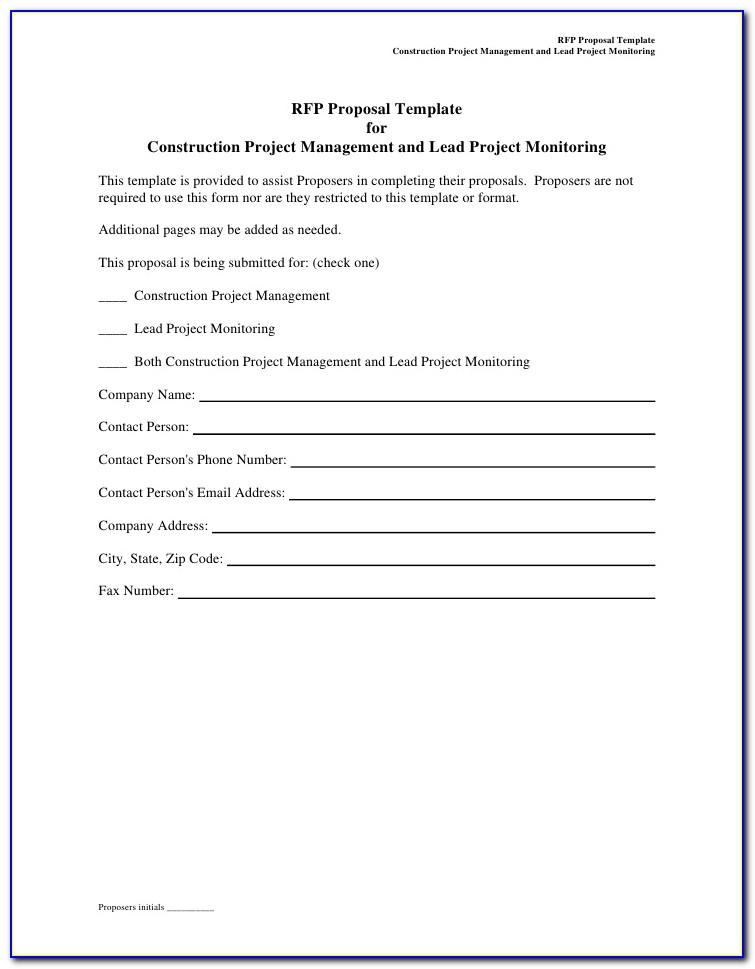 Sample Construction Rfp Template