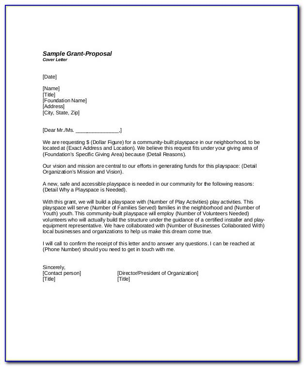 Sample Cover Letter Grant Proposal Template