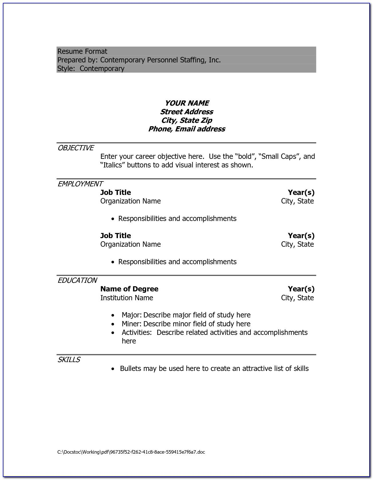 Sample Curriculum Vitae Student