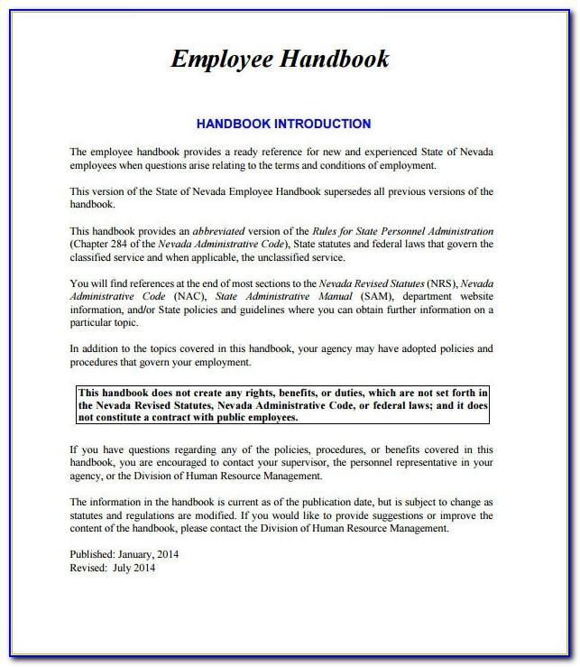 Sample Employee Handbook For Non Profit