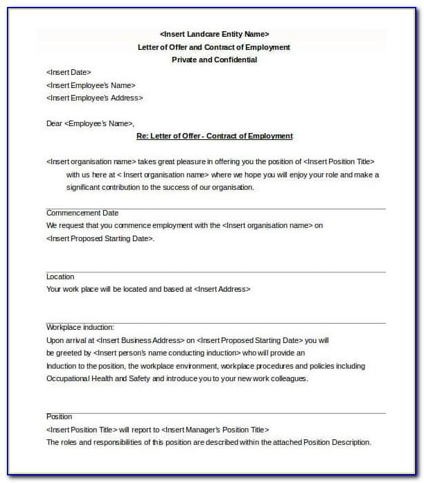 Sample Employment Contract Template Canada