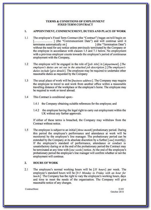Sample Employment Contract Template Ireland